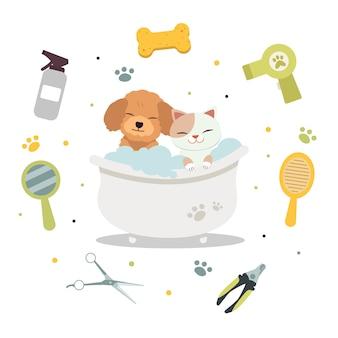 Postać uroczego kota i psa w wannie z narzędziem pielęgnacji zwierząt domowych w stylu płaskiej