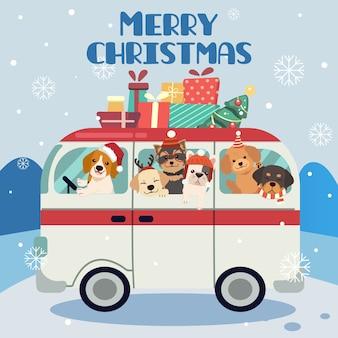 Postać uroczego pieska i przyjaciół lub rodziny na wycieczce do świątecznej części
