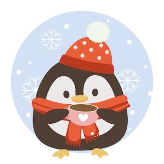 Postać uroczego pingwina trzymającego różową filiżankę kawy z niebieskim tłem koła i płatka śniegu.