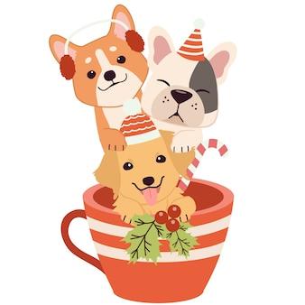 Postać uroczego psa i przyjaciół w kubku w tematyce bożonarodzeniowej.