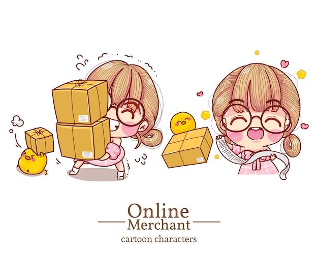 Postać uroczej dziewczyny w sklepie internetowym podnosząca pudełko i niosąca numer identyfikacyjny kreskówka zestaw ilustracji.