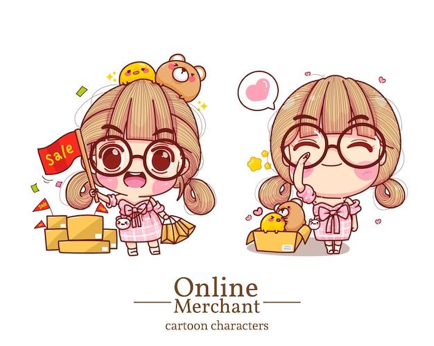 Postać uroczej dziewczyny w sklepie internetowym trzymająca słowo sprzedaży flaga kreskówka zestaw ilustracji.