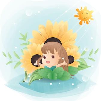 Postać uroczej dziewczyny ze słonecznikiem.
