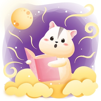 Postać uroczej książki do czytania chomika.