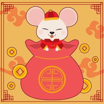 Postać uroczej myszy w dużej chińskiej torbie.