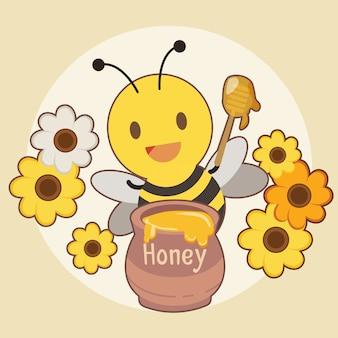 Postać uroczej pszczoły ze słoikiem miodu i kwiatkiem na żółtym.