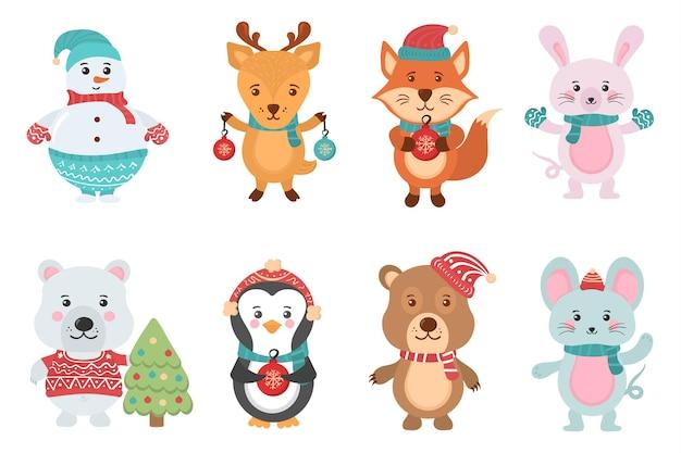 Postać w płaskim banerze z bożonarodzeniowymi uroczymi zwierzętami bałwanki w swetrach z czapkami świętego mikołaja