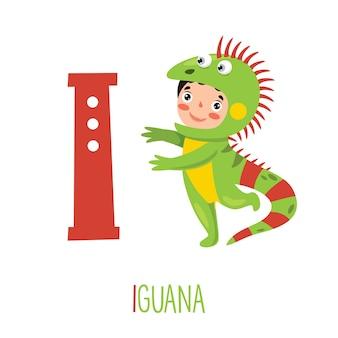 Postać w stroju zwierząt pokazano litera alfabetu