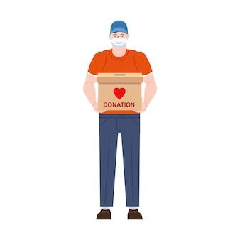 Postać wolontariusza w medycznej masce ochronnej z pudełkiem na datki. ilustracja koncepcja opieki społecznej i charytatywnej