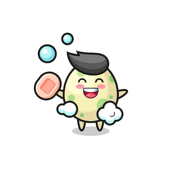 Postać z cętkowanym jajkiem kąpie się trzymając mydło, ładny styl na koszulkę, naklejkę, element logo