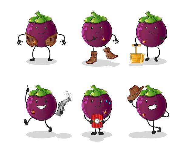 Postać z grupy kowbojów mangostanu. kreskówka maskotka