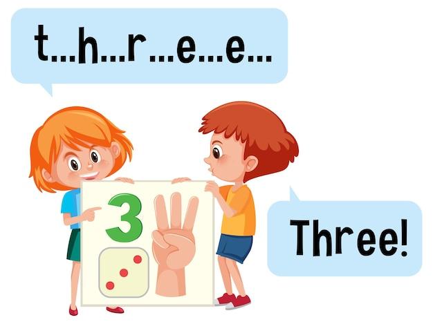 Postać z kreskówek z dwójką dzieci pisowni cyfry trzy