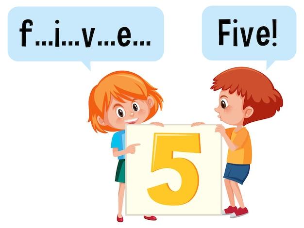 Postać z kreskówek z dwójką dzieci pisujących liczbę pięć