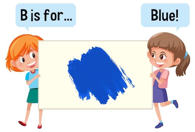 Postać z kreskówek z dwójką dzieci trzymających kolorowy baner słownictwa