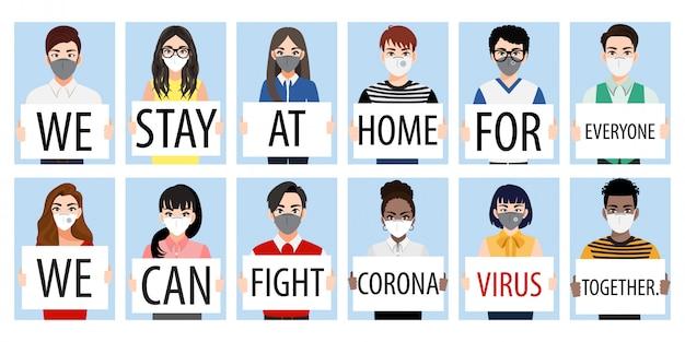 Postać z kreskówek z ludźmi trzymającymi plakaty unika rozprzestrzeniania się wirusa coronavirus i covid-19, pozostając w domu i walcząc razem. wektor świadomości choroby koronawirusa
