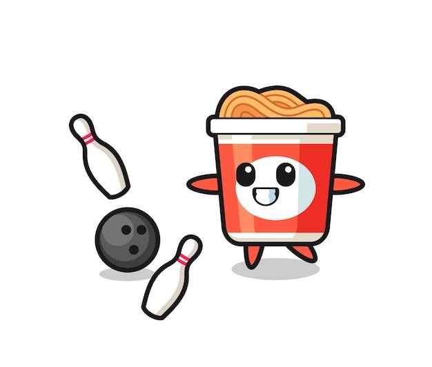 Postać z kreskówek z makaronem błyskawicznym gra w kręgle, ładny styl na koszulkę, naklejkę, element logo