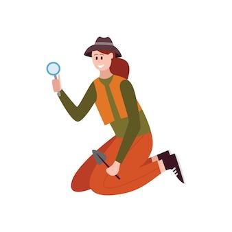 Postać z kreskówki archeologa kobiety-naukowca lub badacza kultury starożytnej