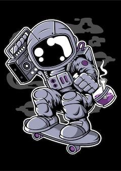 Postać z kreskówki astroanut skater boombox