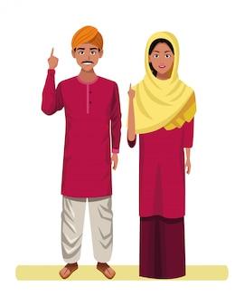 Postać z kreskówki awatar indyjska para