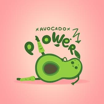 Postać z kreskówki awokado robi ćwiczenia aerobowe, ilustracja na różowym tle. motywacyjne szablon karty lub banera dla zdrowego odżywiania i sportu.