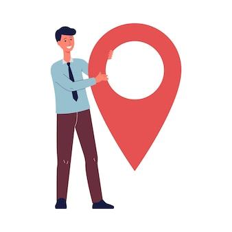 Postać z kreskówki biznesmen posiadający ogromny znak pin nawigacji, płaskie wektor ilustracja na białym tle na białej powierzchni