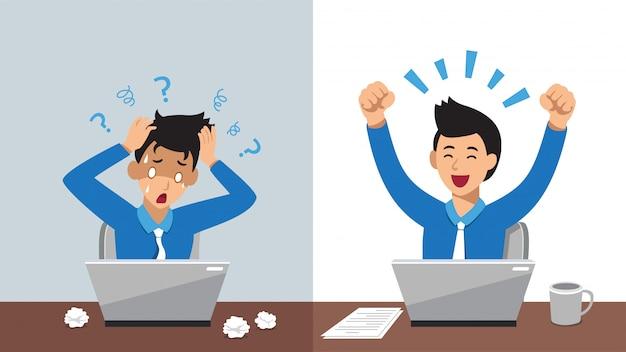 Postać z kreskówki biznesmen wyraża różne emocje