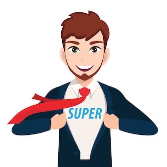 Postać z kreskówki biznesmen z super menedżerem lub superbohaterem