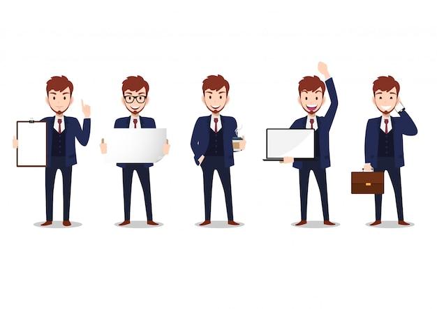 Postać z kreskówki biznesmen, zestaw pięciu pozach