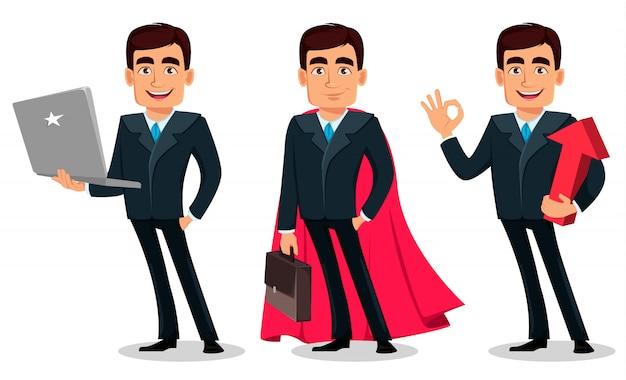Postać z kreskówki biznesowego mężczyzna w formalnym kostiumu