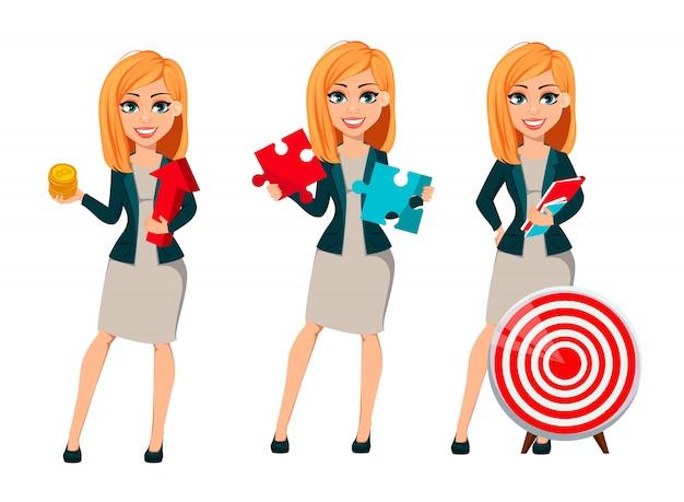 Postać z kreskówki bizneswoman z blond włosy