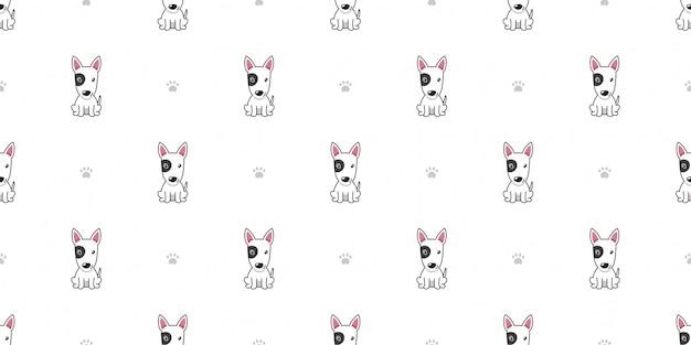 Postać z kreskówki bull terrier pies bezszwowy deseniowy tło