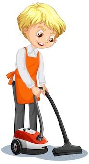 Postać z kreskówki chłopca używającego odkurzacza