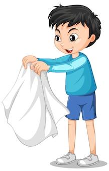 Postać z kreskówki chłopca zdejmującego płaszcz