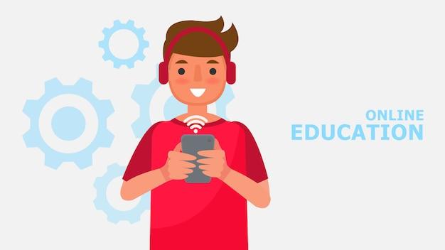Postać z kreskówki chłopiec i edukacja komunikacja. odległość nauka ilustracja technologii informacyjnej edukacja online ucz się w domu z sytuacją epidemiczną treść.