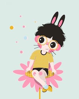 Postać z kreskówki chłopiec króliczek