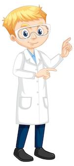 Postać z kreskówki chłopiec ubrany w fartuch laboratoryjny
