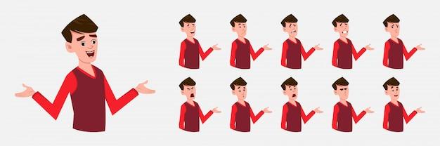 Postać z kreskówki chłopiec z różnych emocji twarzy.