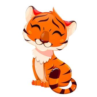 Postać z kreskówki cub tygrysa. śliczny mały tygrys. stockowa ilustracja wektorowa na białym tle