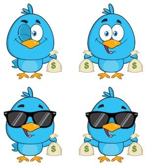 Postać z kreskówki cute niebieski ptak