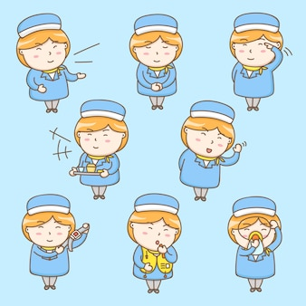 Postać z kreskówki cute stewardesa