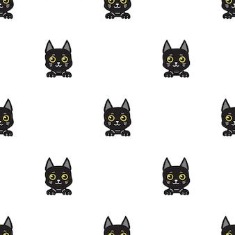 Postać z kreskówki czarnego kota bezszwowy deseniowy tło