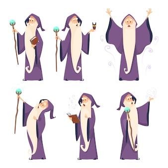 Postać z kreskówki czarodzieja w różnych pozach