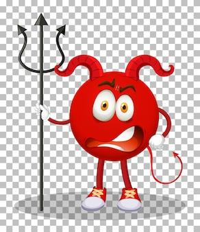 Postać z kreskówki czerwonego diabła z wyrazem twarzy na tle siatki