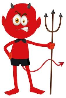 Postać z kreskówki czerwonego diabła z wyrazem twarzy