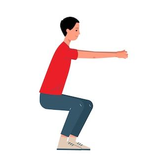 Postać z kreskówki człowiek robi przysiady ćwiczenia sportowe, ilustracja na białym tle. męskie pojęcie aktywności sportowej, treningu i fitness.