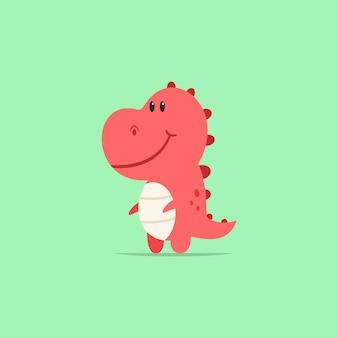 Postać z kreskówki dinozaur t-rex cute baby. płaskie prehistoryczne zwierzę na białym tle na tle.