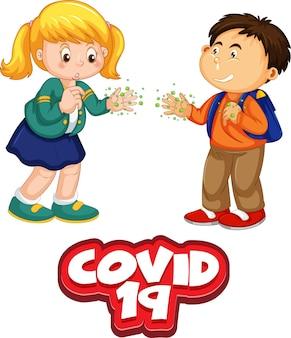 Postać z kreskówki dla dwojga dzieci nie zachowuje dystansu społecznego z czcionką covid-19 na białym tle