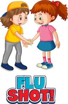 Postać z kreskówki dla dwojga dzieci nie zachowuje dystansu społecznego z czcionką grypy strzał na białym tle