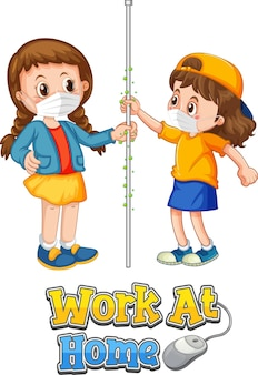 Postać z kreskówki dla dwojga dzieci nie zachowuje dystansu społecznego z czcionką work at home na białym tle