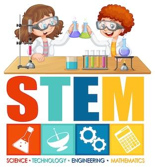 Postać z kreskówki dla dzieci naukowca z logo edukacji stem